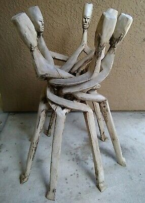 Rare Tall African Tribal Primitive Hand Carved Wooden Bowl Holder. All One Piece