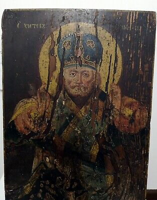 Antique Russian icon on a wood of the USSR is written oil, 19th