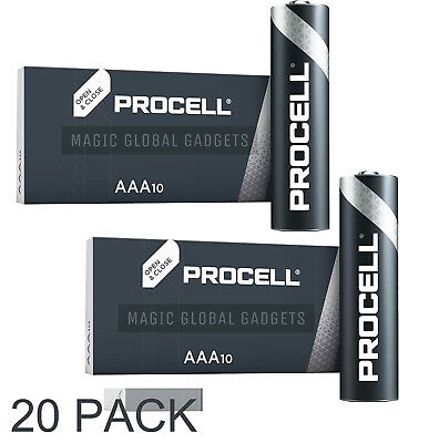 20 X Duracell Aaa Procell Alkaline Batteries Lr03, Mn2400 Replaces Industrial