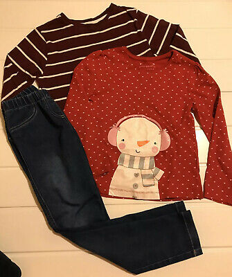 Girls Age 6 Years Snowman Top, Stripe Top & Jean Jeggings Bundle Outfit