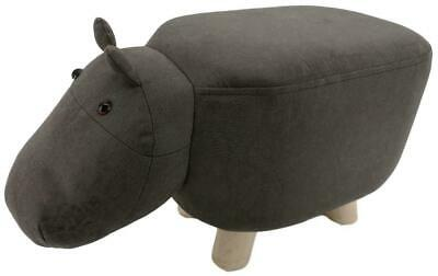 Mini Grey Hippo stool / footstool faux leather / suede with wooden legs