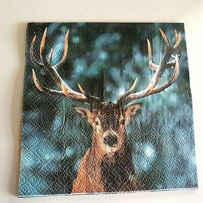 4 x cocktail  25 x 25 napkins for decoupage winter stag Christmas