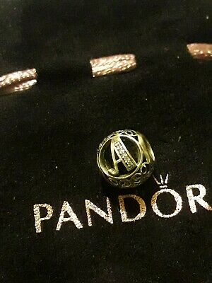 Guenine new Pandora, Alphabet Letter, Initial,  A (letter A in cubic zirconia )
