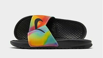 Nike Benassi JDI Print Black CK0842-001 Tie Dye Slide Sandals Men's Multi Size