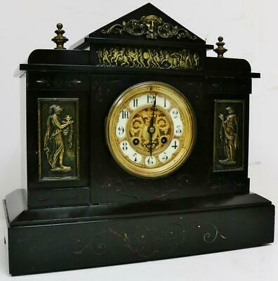 Antique French Slate & Bronze Mounts Architectural 8 Day Striking Mantel Clock