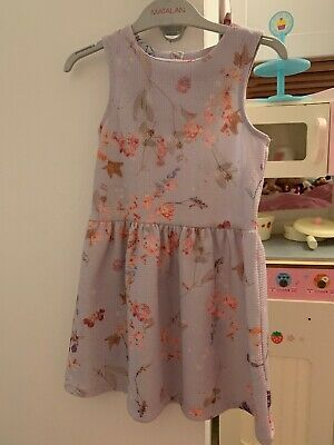 Pretty Lilac Purple Floral Girls Age 5 Years Dress From Next