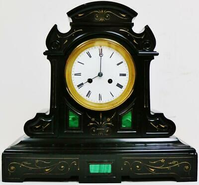 Exquisite Antique French 8 Day Slate & Malachite Panelled Striking Mantel Clock