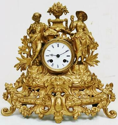 Antique French 8 Day Bell Striking Gilt Metal Harvest Figurines Mantel Clock