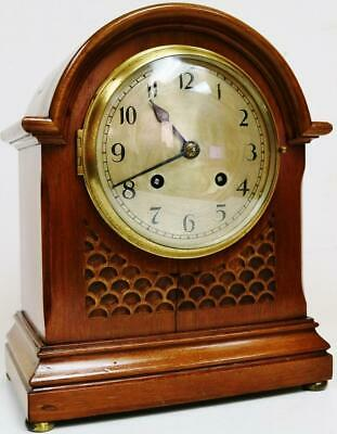 Beautiful Antique English 8 Day Arched Top Carved Mahogany Striking Mantel Clock