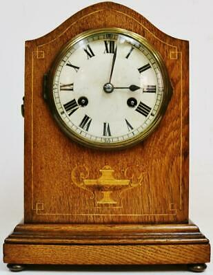Beautiful Antique German 8 Day Sweep Top Inlaid Oak Gong Striking Mantel Clock