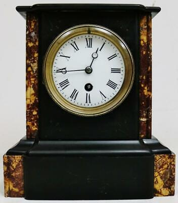 Superb Antique French 19thC 8 Day Slate & Red Marble Timepiece Mantel Clock