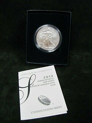 2014-W Burnished American Silver Eagle One Dollar Coin with Box and COA
