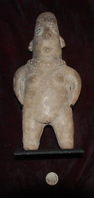 Pre-Columbian ~ COLIMA ~ Pre-Colombian Standing Female FIGURE with Stand ~ NR