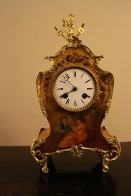 Victorian Antique French 8 Day Painted Mantle Clock  Fully Working