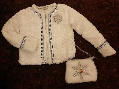Frozen/Elsa Faux Fur Jacket & Bag by Disney Store, Age 7/8 (would fit from 5yrs)