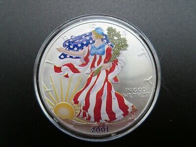 2001 American Silver Eagle Colorized ASE 1 Troy Oz .999