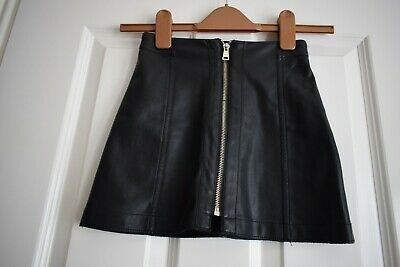 Girls River Island Black Faux Leather Skirt Size 6 Years