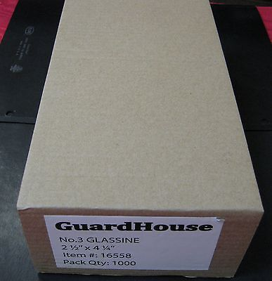 """GUARDHOUSE BRAND GLASSINE ENVELOPE SIZE #3. BOX OF 1000 COUNT. 2 1/2"""" x 4 1/4"""""""