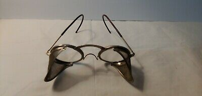 Vintage Steampunk Optical Glass Safety Glasses Eyeglasses w/ Wire Mesh Sides