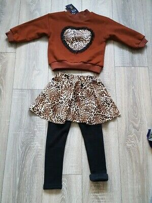 Toddler Girls 2 Piece Animal Leopard Print Winter Outfit Age 3-4 Years