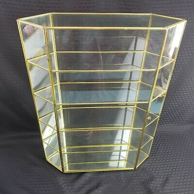 Vintage Brass Glass Curio Cabinet 5 Shelf Large Table Top Display Rare Size