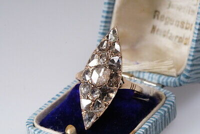 antiker Rosenschliff Diamant Ring Barock Navette RAR Georgian era rose cut Gr 61