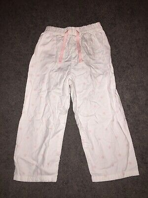 Little White Company Girls Pyjamas Trousers (2-3 Years) White With Pink Stars