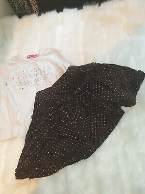 Girls 5-6 Years Top Jumper Dots Skirt Velvet outfit bundle Next Day
