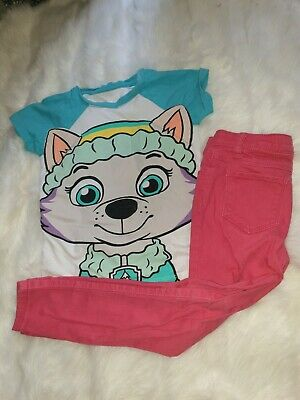 Girls 4-5 Years Top T-shirt Paw Patrol Trousers Jeans outfit  bundle Next Day