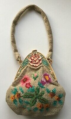 1920'S Art Deco French Rose Celluloid And Needlepoint Bag. Mirror+Powder Section