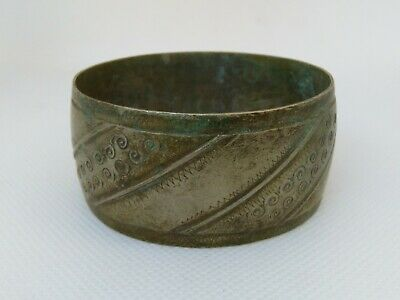 Rare Extremely Ancient Old Viking Bracelet Metal Color Silver Artifact Authentic
