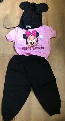 A Vintage Babies Disney Baby Minnie Mouse Hoodie with Ears and Trousers to Match