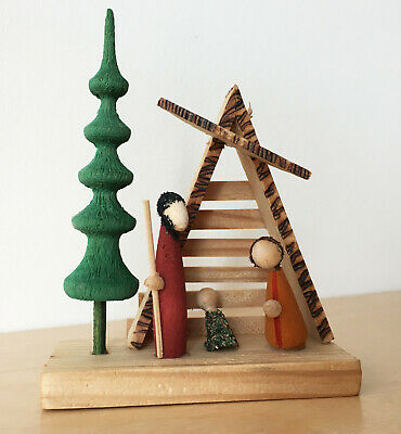 Christmas Nativity Creche ~ Small Abstract Carved Wood ~ Made in Poland 1995