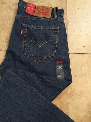 Mens Levis 505 Blue Jeans Regular Fit Straight Leg 34x32 New with Tags ¹¹¹⁴
