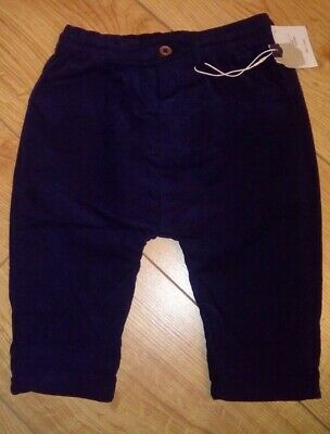 New Zara Baby Boy Navy Blue Trousers With Button And Drawstring Age 3/6 Mths