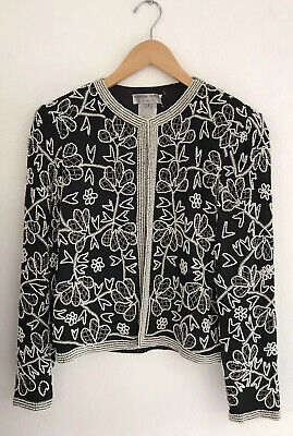 Adrianne Papell Evening Women's Black Jacket With White Floral Beading Size S