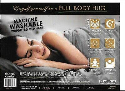 """60"""" x 80"""" Weighted Blanket Full Body Glass Beads Regal Comfort 15 lbs $299 MSRP"""