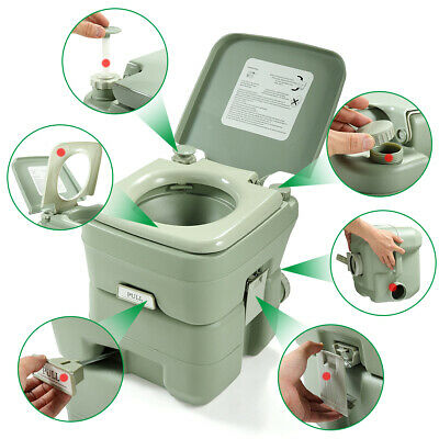 5 Gallon 20L Portable Toilet Potty Travel Camping Outdoor/Indoor Commode Flush