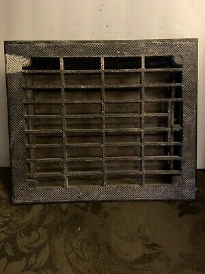 "Antique VICTORIAN Cast Iron Floor 14x12""(12x10"")Heat Grate Register with Louvers"