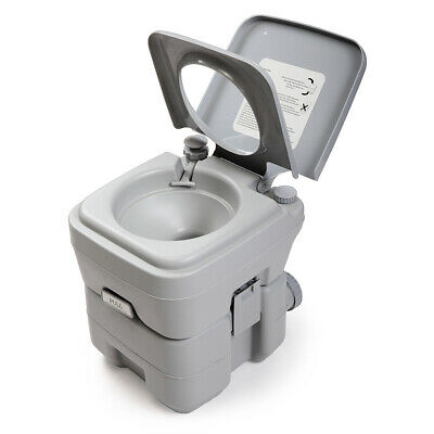 Gray 5 Gallon 20L Portable Toilet Outdoor Camping Flush Travel Camping Commode