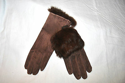 NICE ROECKL Womans Gloves Brown Suede-Real Rabbit Fur  sz 6 1/2