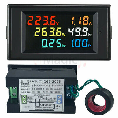 AC 80-300V Digital Ammeter Voltmeter Volt Amp Power Kwh Frequency Factor 100A CT