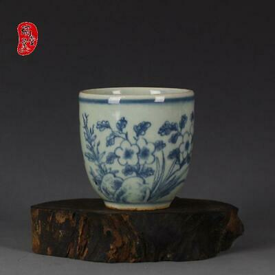"""Antique Old Chinese Blue and white Porcelain ming Dynasty peony tea cup 2.8"""""""