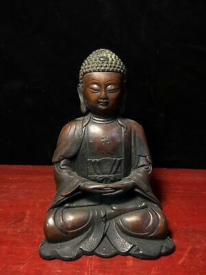 Chinese Ming yongle marked old bronze Buddhism Shakya Mani Buddha statue