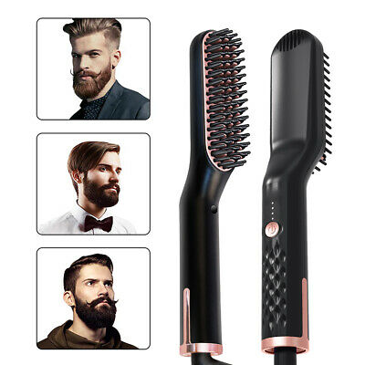 3 In 1 Men's Electric Beard Straightening Heated Hair Comb Brush Styler Gift