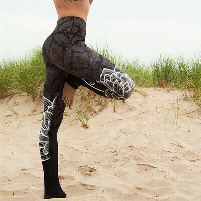 Women Yoga Pants Stretch Fitness Jogging High Waist Gym Trousers Leggings Floral