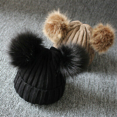 NEW!Newborn Baby Boy Girls Winter Warm Double Fur Pom Bobble Knit Beanie Hat Cap