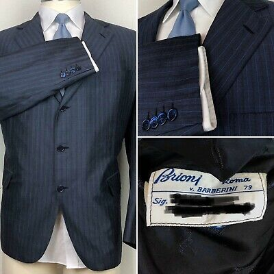 Brioni Made To Measure 100% Silk Blue Pinstripe Palatino Blazer Sport Coat 46R