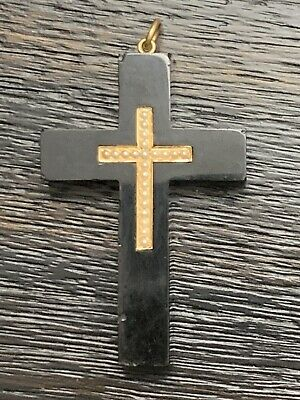BEAUTIFUL 14k Gold LARGE VINTAGE ANTIQUE VICTORIAN BLACK MOURNING CROSS PENDANT