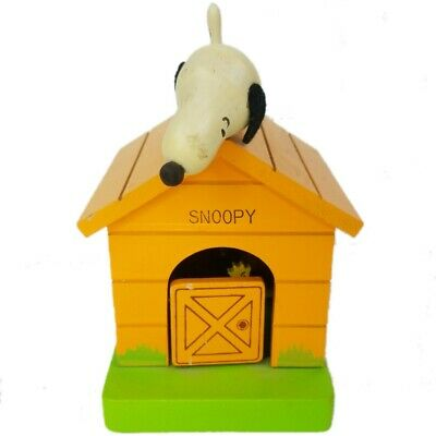 Peanuts Snoopy Woodstock Dog house Schmid Music Box Mechanized Coin Bank 1970